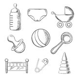 Baby and childhood sketched icons Stock Photo