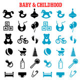 Baby and childish flat icons set Royalty Free Stock Photos