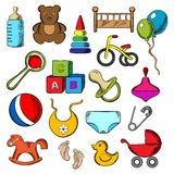Baby and childish toys icons Stock Photography