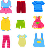Baby and children clothes collection. Illustration of baby and children clothes collection Royalty Free Stock Photos