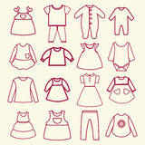 Baby and children clothes collection outline icons Royalty Free Stock Image