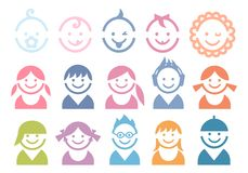 Baby and children faces. Icon set Stock Photography