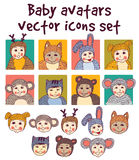 Baby children faces avatars icons set. Royalty Free Stock Image