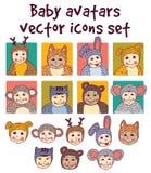 Baby children faces avatars icons set. Royalty Free Stock Image