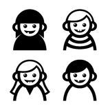 Baby and Children Faces Icons Set. Vector Stock Image