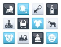 Baby and children icons over color background. Vector icon set stock illustration