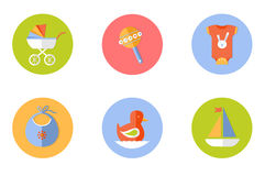 Baby children icons set, vector. Illustration of a flat style stock illustration