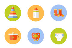 Baby children icons set, vector. Illustration of a flat style vector illustration