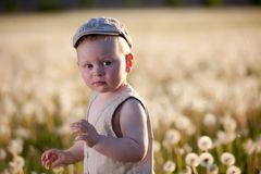 Baby children in meadow Royalty Free Stock Images