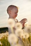 Baby children in meadow Royalty Free Stock Photo