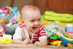 Baby with children's wear royalty free stock photos