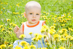 Baby children sitting on the grass Stock Photo