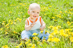 Baby children sitting on the grass Stock Photos