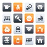 Baby, children and toys icons over color background royalty free stock image