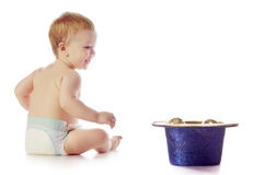Baby With Chrismas Balls Royalty Free Stock Images