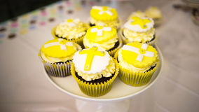 Baby Christening Cupcakes Stock Images