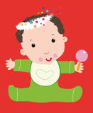 Baby Christmas. Baby male Christmas harness bell rattle toy bib baby food decor stars heart happy Royalty Free Stock Images