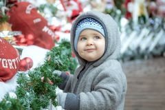 Baby in the Christmas royalty free stock photo
