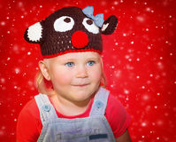 Baby in Christmas costume Stock Image