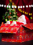 Baby in Christmas costume looking up Royalty Free Stock Images