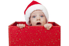 Baby Christmas Gift Surprised Stock Images