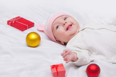Baby with christmas gifts Royalty Free Stock Photo