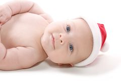 Baby in Christmas Hat Royalty Free Stock Photography