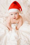 Baby in christmas hat Royalty Free Stock Photos