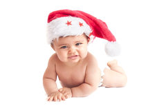 Baby with christmas hat Royalty Free Stock Images
