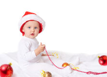 Baby in christmas hat Royalty Free Stock Photo