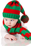Baby with christmas hat and scarf Stock Photography