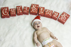 Baby Christmas Portrait Stock Photo
