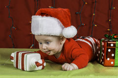 Baby Christmas Portrait Stock Photo