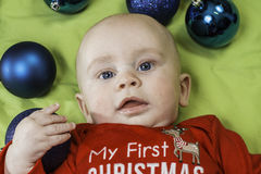 Baby Christmas Portrait Stock Images