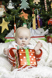 Baby Christmas Portrait Stock Photos