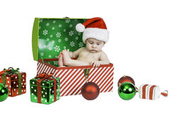 Baby Christmas Portrait Isolated Royalty Free Stock Photo