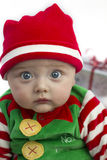 Baby at christmas with present Royalty Free Stock Photography