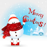 Baby Christmas Snowman holds text Merry Christmas ! Christmas Greeting Card. cartoon illustration. Stock Photo
