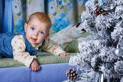Baby and Christmas Tree Royalty Free Stock Photo