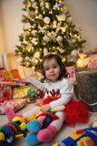 Baby and Christmas tree Royalty Free Stock Photos