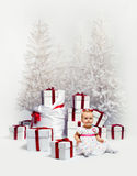 Baby and Christmas trees Stock Photo