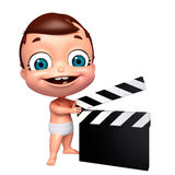 Baby with clapper board. 3D Render of baby with clapper board Stock Images