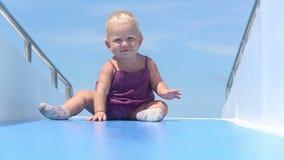 Baby claps ship ocean stock video