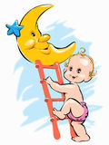 Baby climbing on moon at night through ladder Royalty Free Stock Images