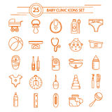 Baby Clinic Linear Icons Set Royalty Free Stock Photography
