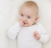 Baby Closeup Face, Happy Toddler Portrait, Kid in White Royalty Free Stock Photography