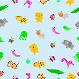 For Baby Cloth Motif, seamless Cute Baby Animals at blue background Stock Photo
