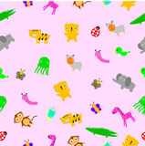 For Baby Cloth Motif, seamless Cute Baby Animals at pink background Stock Photo