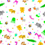 For Baby Cloth Motif, seamless Cute Baby Animals at white background Stock Photos