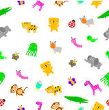 For Baby Cloth Motif, seamless Cute Baby Animals at white background Royalty Free Stock Photography